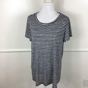 Lane Bryant Blue Striped Tee Womens Plus 14/16